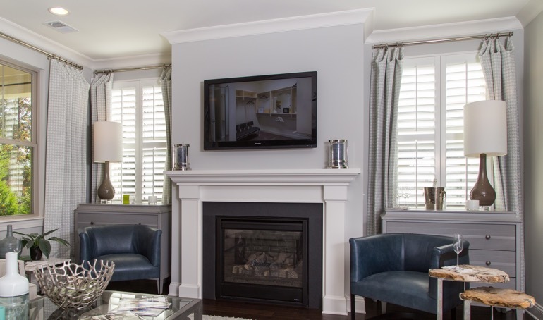 Shutters near fireplace
