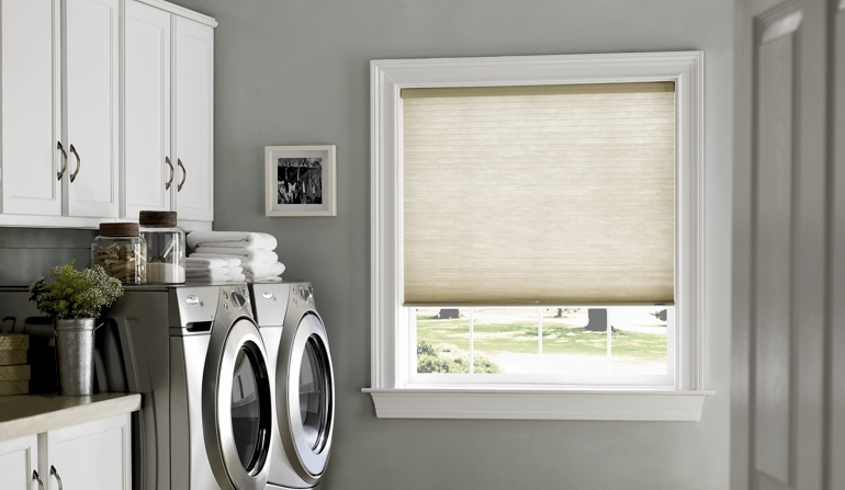Cellular shades in a Austin laundry room
