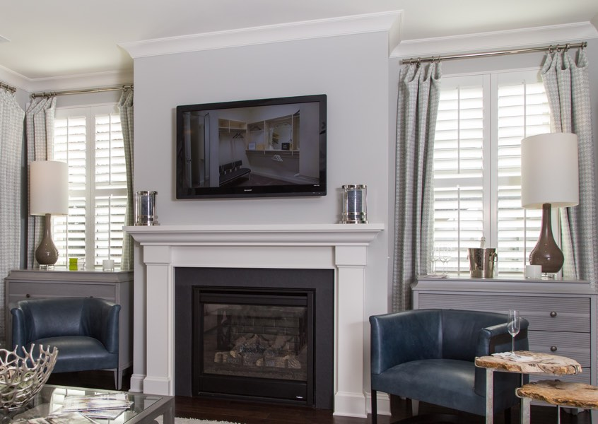 living room Austin faux wood shutters