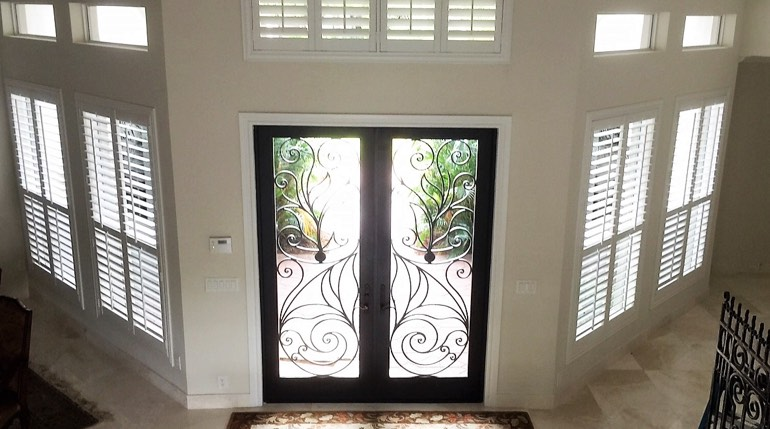Austin foyer with glass doors and indoor shutters