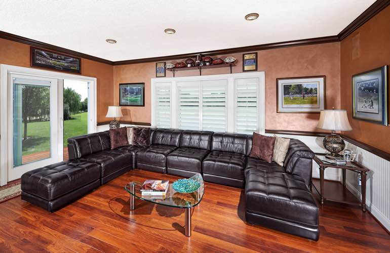 Austin basement with sliding doors and plantation shutters.