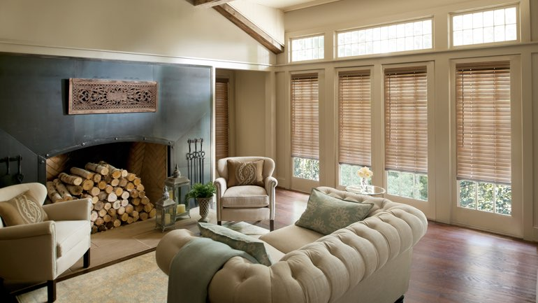 Austin fireplace with blinds