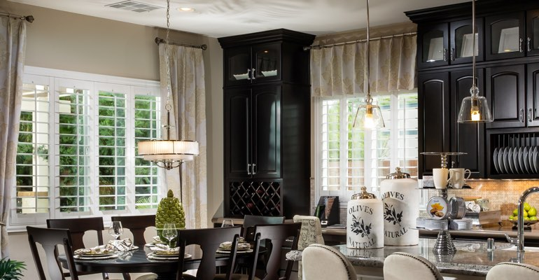 Austin kitchen dining room with plantation shutters.