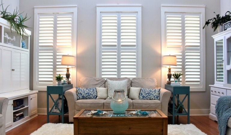 Austin modern home with faux wood shutters