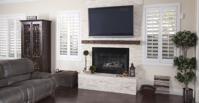 interior shutters in Austin living room