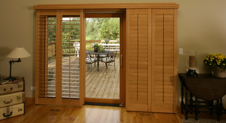 Austin wood shutter sliding door