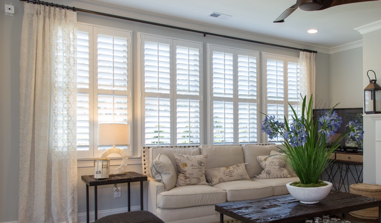 Plantation Shutters in Austin Living Room
