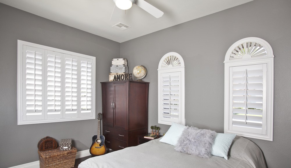Polywood Shutters In A Austin Bedroom