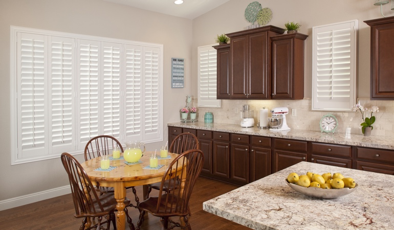 Polywood Shutters in Austin kitchen