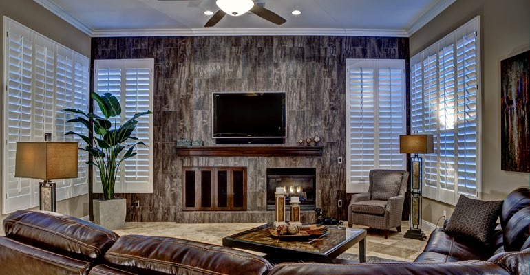 Austin living room with shutters