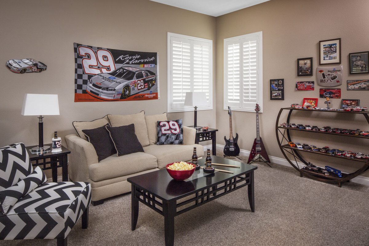 Austin man cave with shutters