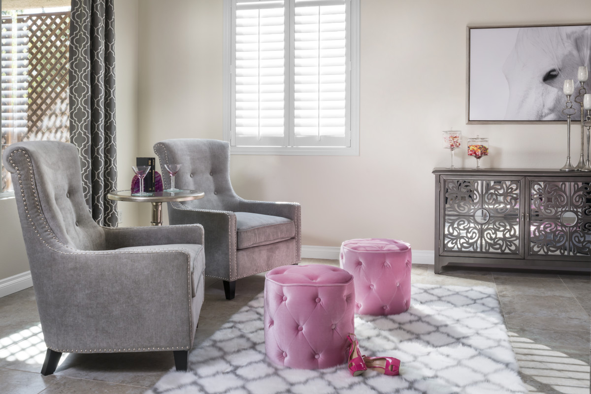 Austin pink living room with shutters