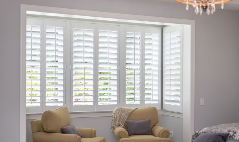 Classic shutters in Austin bedroom