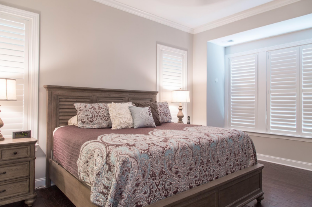 Austin bedroom with light block shutters