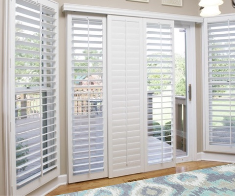 [Polywood|Plantation|Interior ]211] shutters on a sliding glass door in Austin
