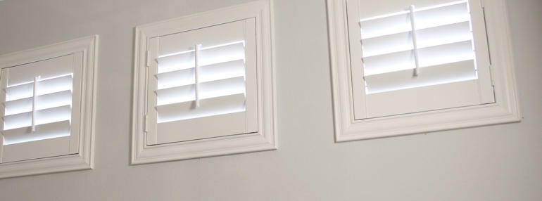 Small Windows in a Austin Garage with Plantation Shutters