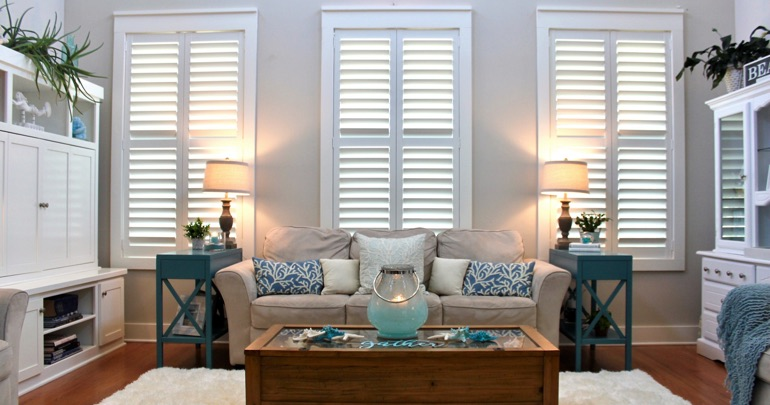 Austin living room plantation shutters
