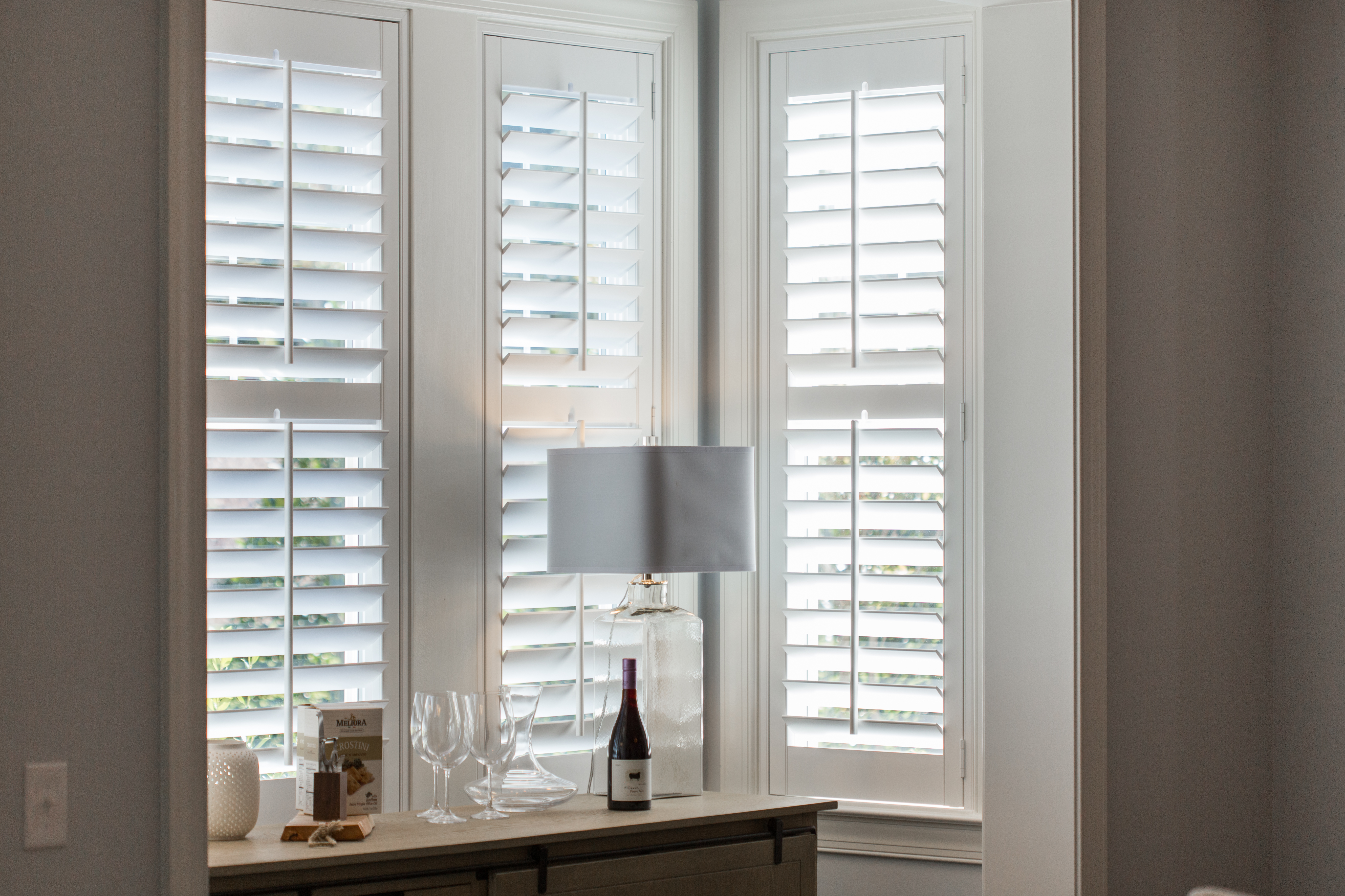 Polywood shutters in Austin alcove.