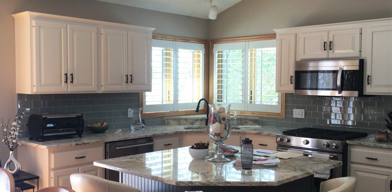 Austin kitchen with shutters and appliances