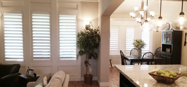 Austin shutters in kitchen and living room