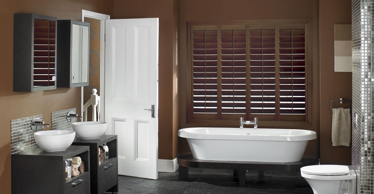 Austin bathroom shutters wood stain