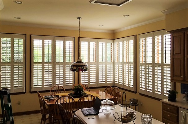 Plantation shutters in kitchen