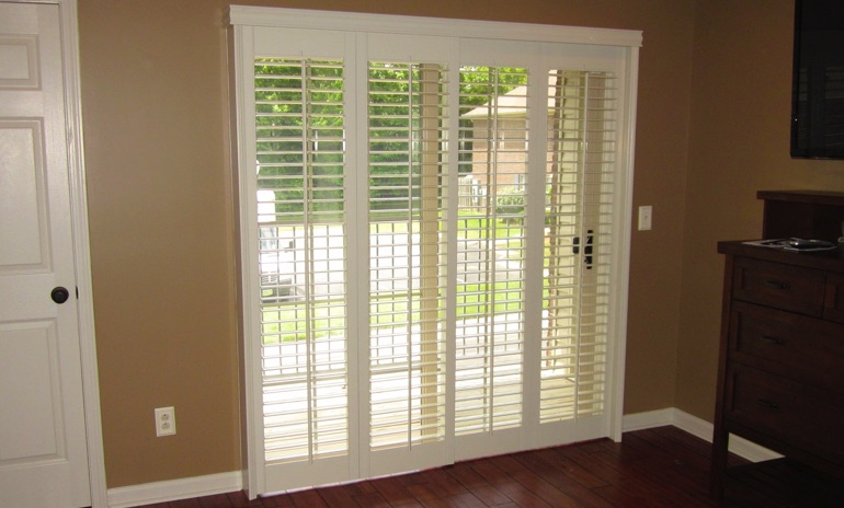 Sliding Glass Door Shutters In Austin Sunburst Shutters