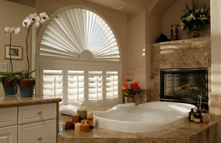 Our Team Installed Shutters On A Sunburst Arch Window In Austin, TX