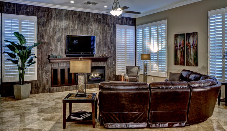 Plantation Shutters In A Austin Living Room.