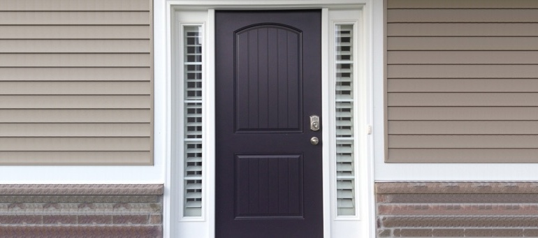 Sidelight Shutters On Black Door In Austin, TX