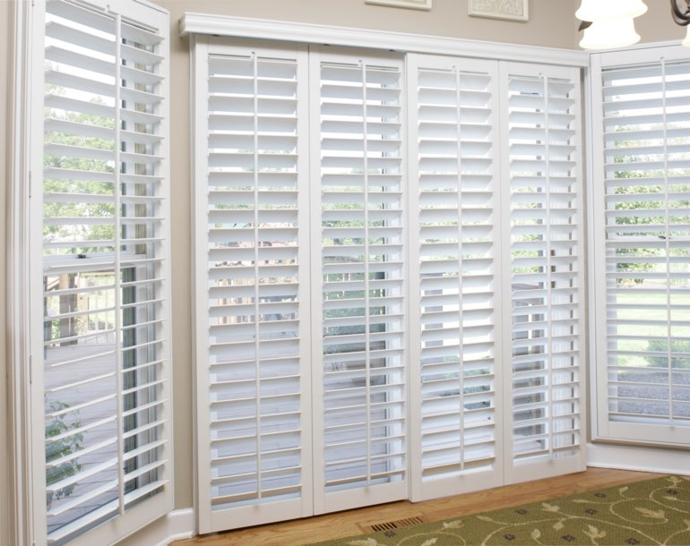 Sliding glass door with plantation shutters Austin